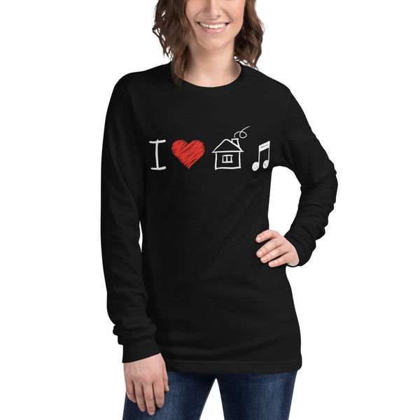 Long Sleeve I Love House Music T-Shirt 7 Colors