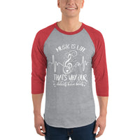 3/4 Sleeve Music Is Life Raglan Shirt 5 Colors