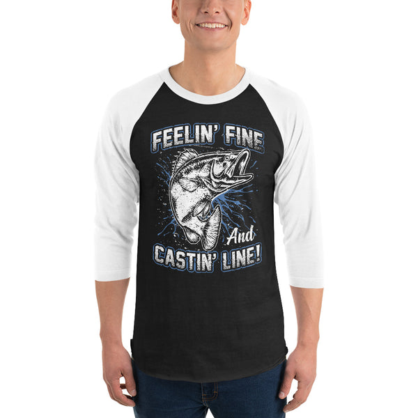 3/4 Sleeve Feelin Fine Castin Line Raglan Shirt 5 Colors