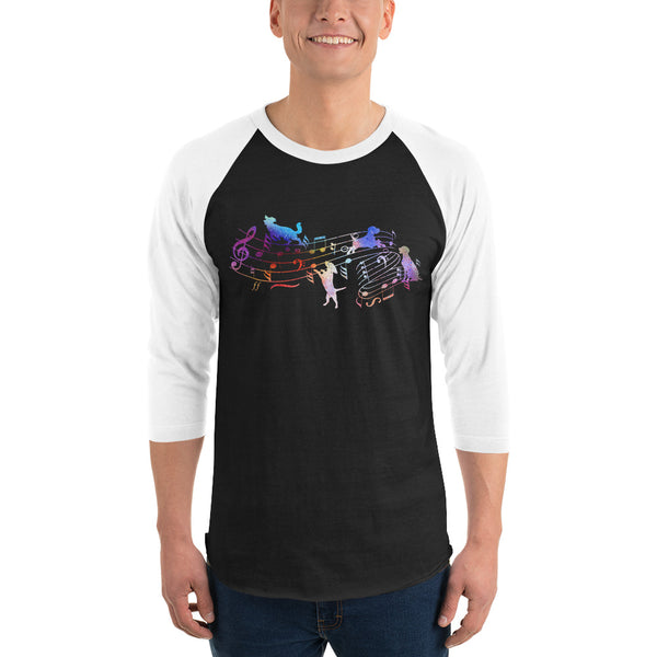 3/4 Sleeve Music And Dog Raglan Shirt 5 Colors
