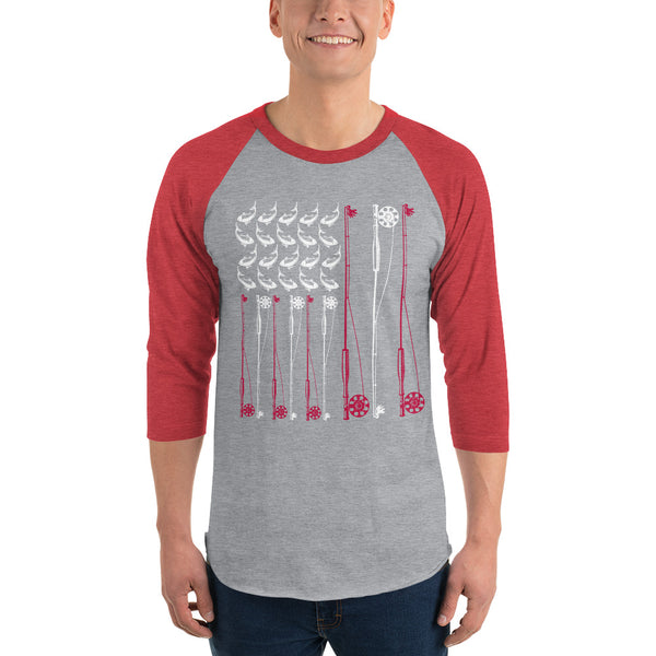 3/4 Sleeve Raglan American Flag Fish Shirt 6 Colors