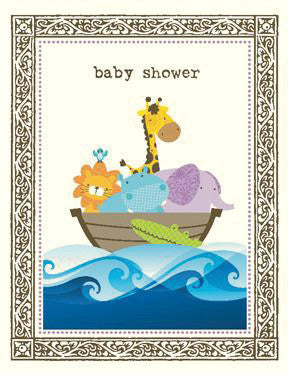 Animals In Ark Baby Shower Card Yellow Bird Paper Greetings