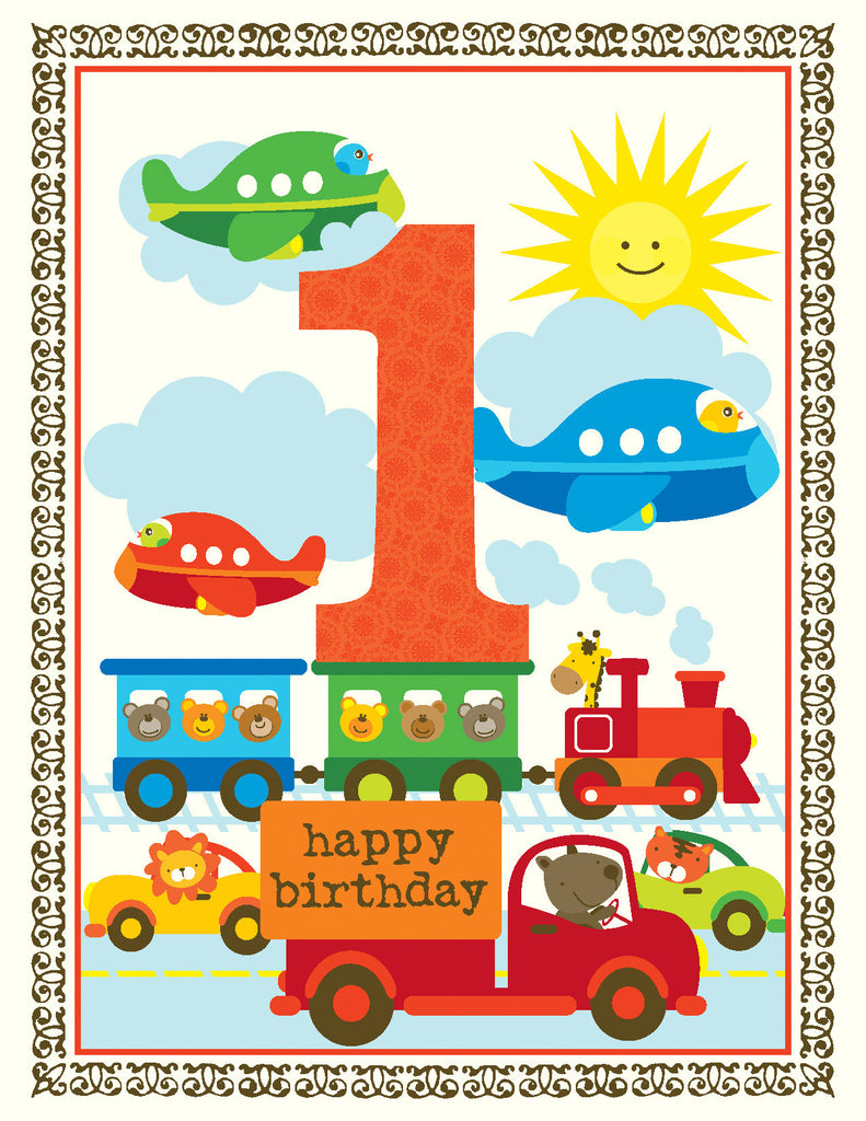 Baby Boy Vehicles First Birthday Card