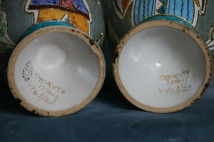 2 Maioliche Deruta Italian Pottery Handle Vase Hand Painted Italy8.5 Signed | Pops Flea Market