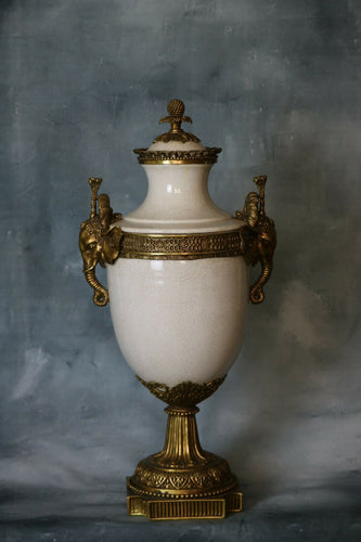 WL urn 1895 art nouveau urn Large Bronze and Porcelain asian Urn | Pops Flea Market