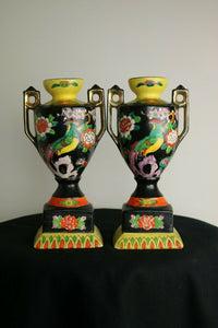 2 Hand Painted-TT JAPANESE VASES- Made In Japan- 1900 to 1940 export Condition