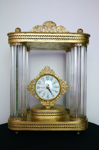 Antique Mantle Clock Brass/steel Glass Made In Germany tower columns | Pops Flea Market