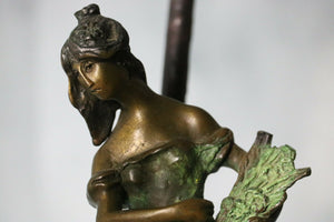 AUGUSTE MOREAU LADY WITH WHEAT BRONZE STATUE SIGNED: | Pops Flea Market