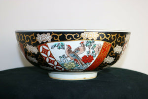 10 inch diameter Hand Painted Gold Imari porcelain bowl Japan antique | Pops Flea Market