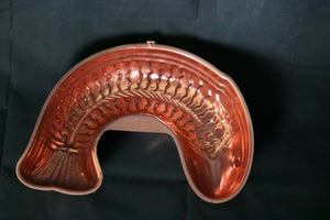 Vintage COPPER Metal Curved Fish Jello Mold with Wall Hanger LARGE SIZE