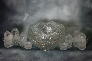 American Brilliant Cut Glass Crystal Complete Punch Bowl Set 18 Cups-Hobstars | Pops Flea Market