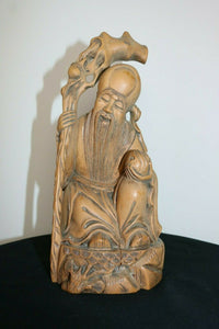 Chinese Carved Wooden Bearded Immortal Figure Statue w/ Staff and small person. | Pops Flea Market