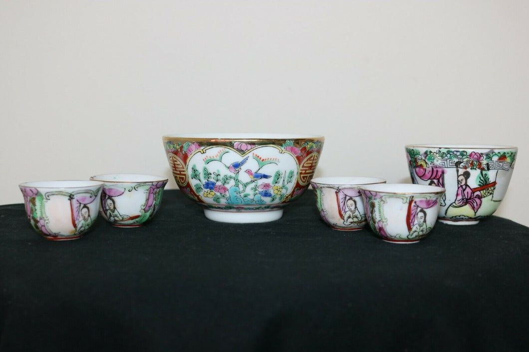 "Chinese porcelain 5 saki cup 1 sallow rice b""Rose Medallion"", Mandarin decoratio 