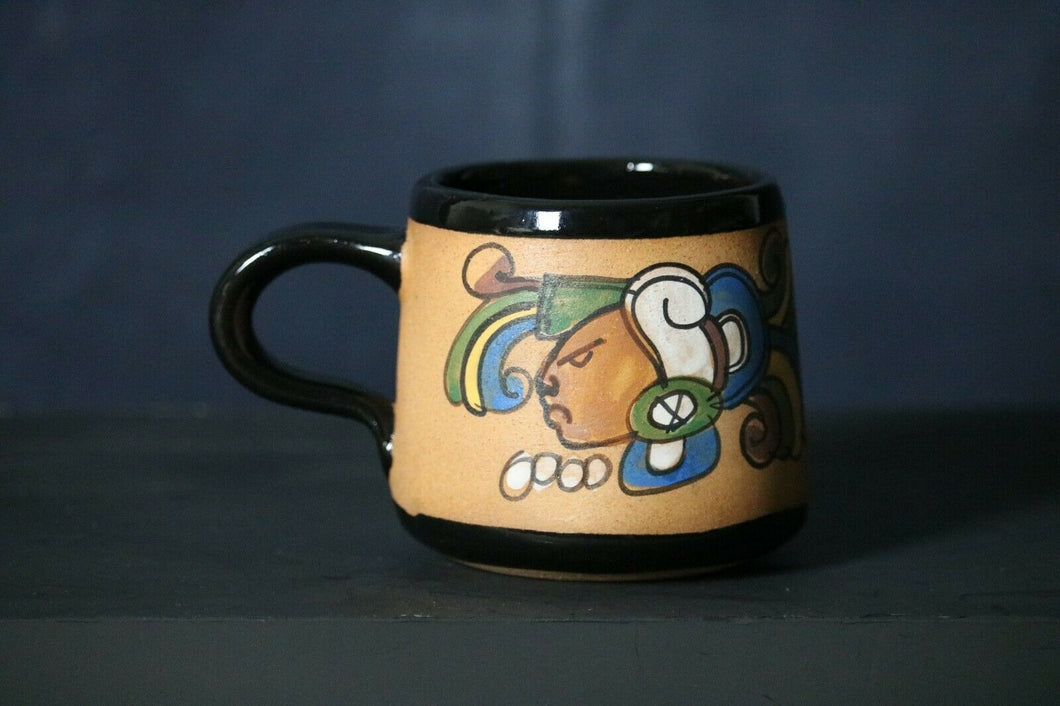 El Salvador Aztec Red Clay Pottery Mug Hand Painted & Thrown