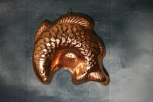 Load image into Gallery viewer, Copper Finish Fish Jello Mold Tall Wall Decoration Brass Hanger | Pops Flea Market