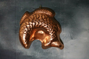 Copper Finish Fish Jello Mold Tall Wall Decoration Brass Hanger | Pops Flea Market