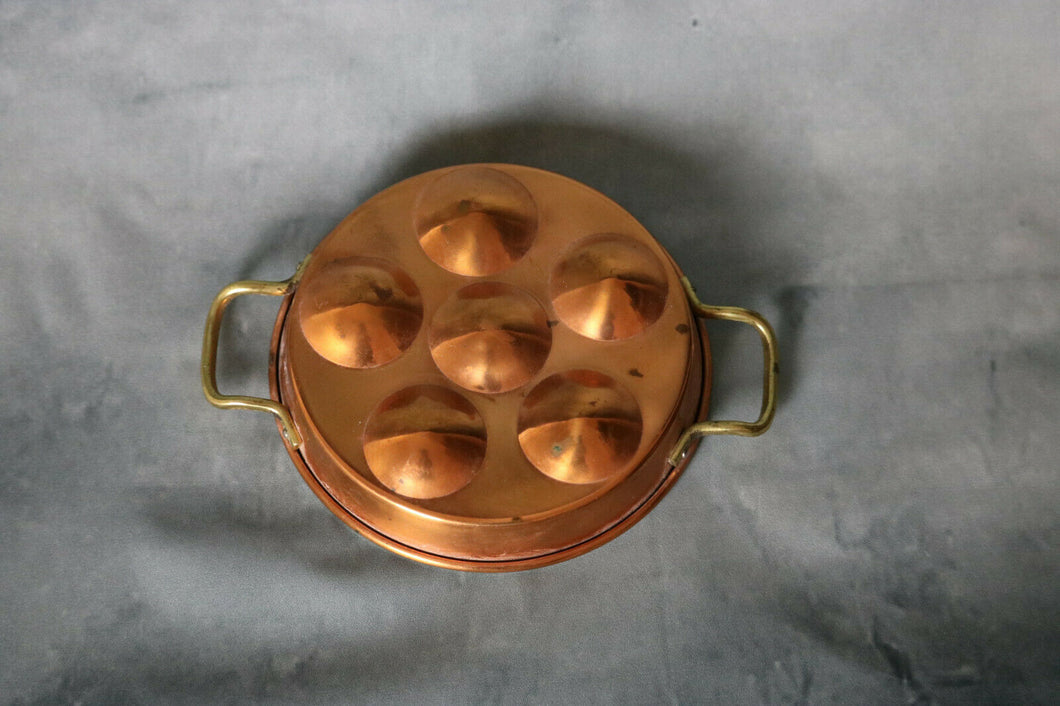 Vintage Round Copper Mold Brass Handles Egg Coddler Poacher 7