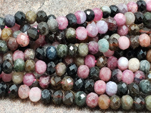 5.5mm to 5.7mm Watermelon Tourmaline Faceted Rondelles, 15.75 inch
