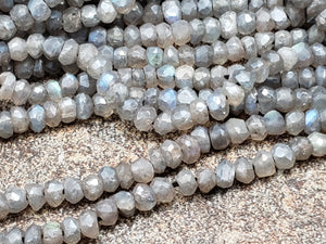 3.5mm Mystic Labradorite Faceted Rondelles, 13 inch