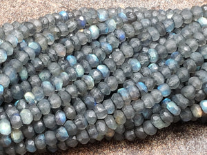 4mm Labradorite Handcut Faceted Rondelles, 13 inch