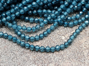 2mm London Blue Topaz Faceted Round Beads, 13 inch