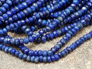 3.5 to 4mm Natural Lapis Lazuli Handcut Faceted Rondelles, 12.5 inch