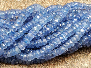 Graduated Tanzanite Faceted Rondelle Beads, 16 inch