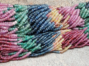 Graduated Mixed Rainbow Sapphire Faceted Rondelle Beads