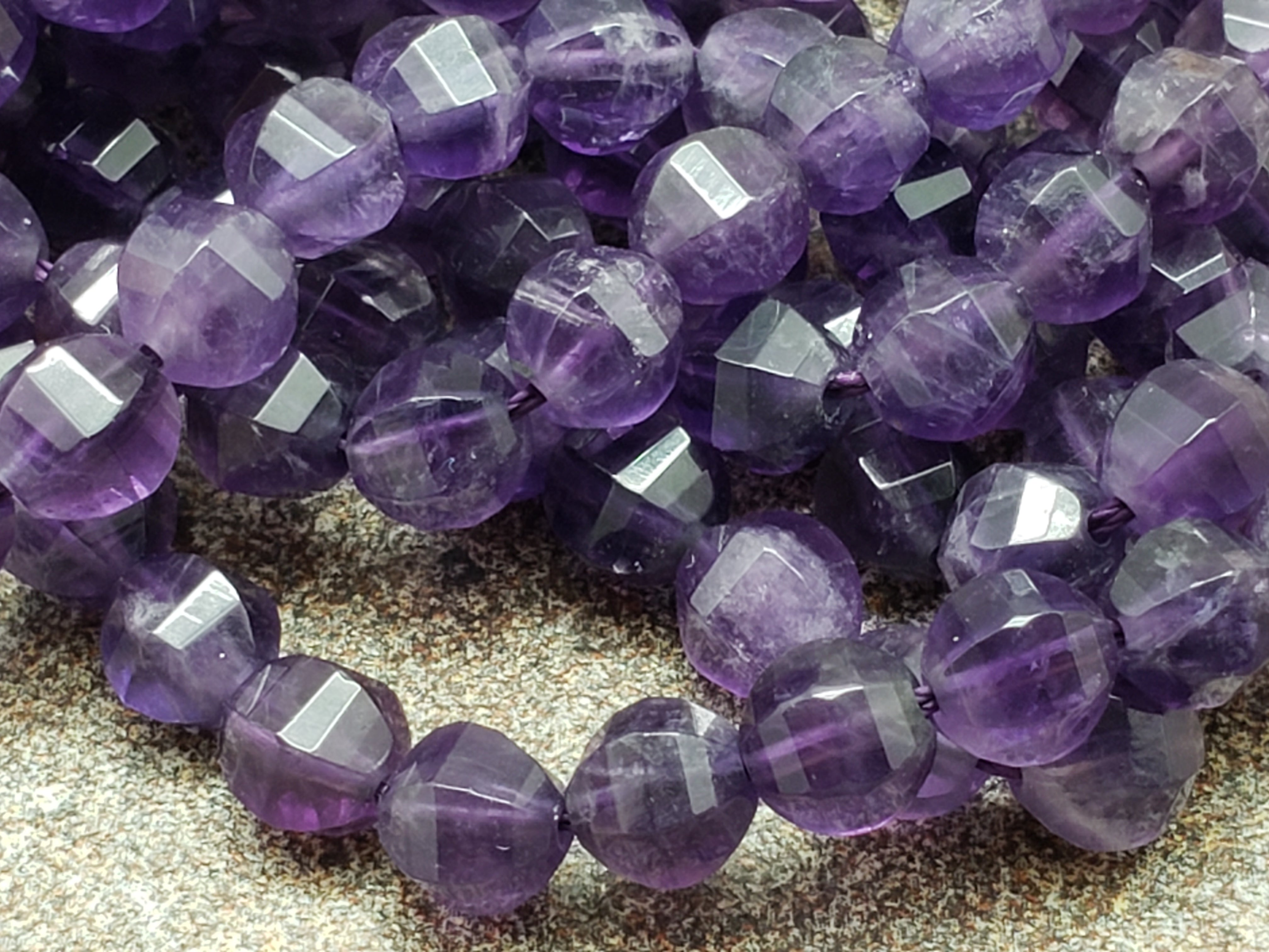 5.5mm Amethyst Faceted Star Cut Faceted Beads, 15 inch