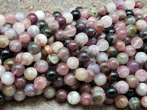 6mm or 8mm Watermelon Tourmaline Polished Round Beads, AB Grade, 15.5 inch