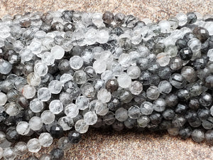 2mm or 3mm Black Rutile Quartz Faceted Round Beads, 15.5 inch
