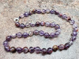 Auralite Hand Knotted Necklace with Lobster Claw Clasp
