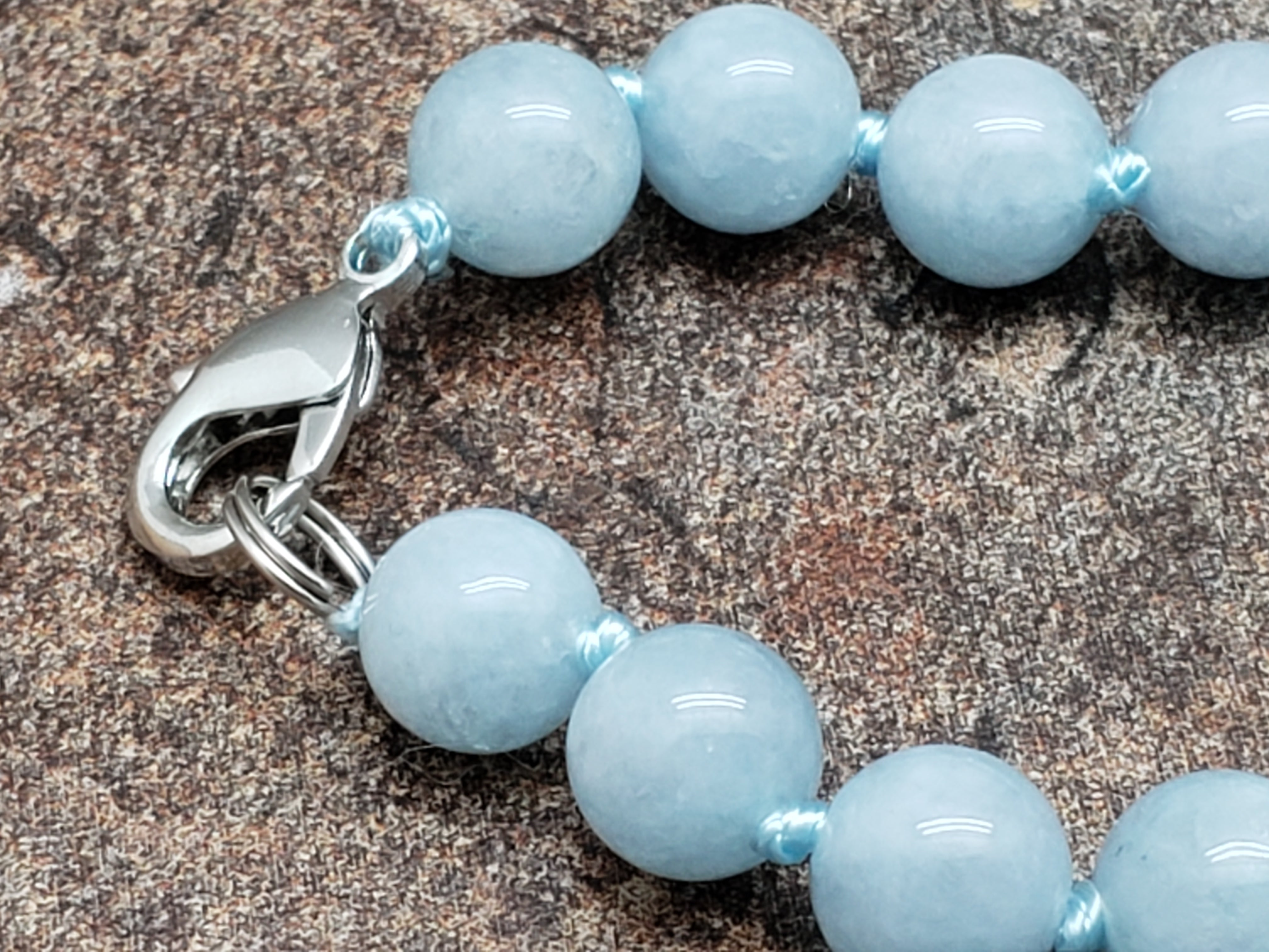 Aquamarine Hand Knotted Necklace with Lobster Claw Clasp