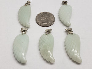 Lite Blue Amazonite Wing Pendant, 35mm by 16mm