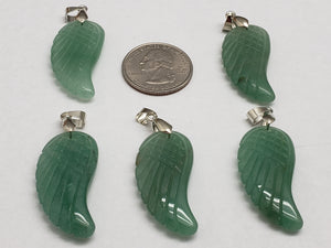 Green Aventurine Wing Pendant, 35mm by 16mm