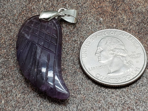 Amethyst Wing Leaf Pendant, 35mm by 16mm