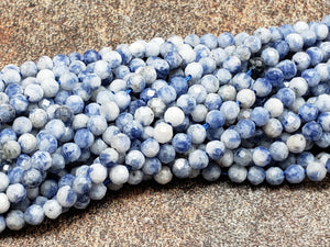 2mm or 3mm Sodalite Faceted Round Beads, 15 inch Lot 2B