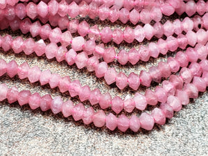 2.9mm Pink Tourmaline Faceted Disk Rondelles, 15.5 inch