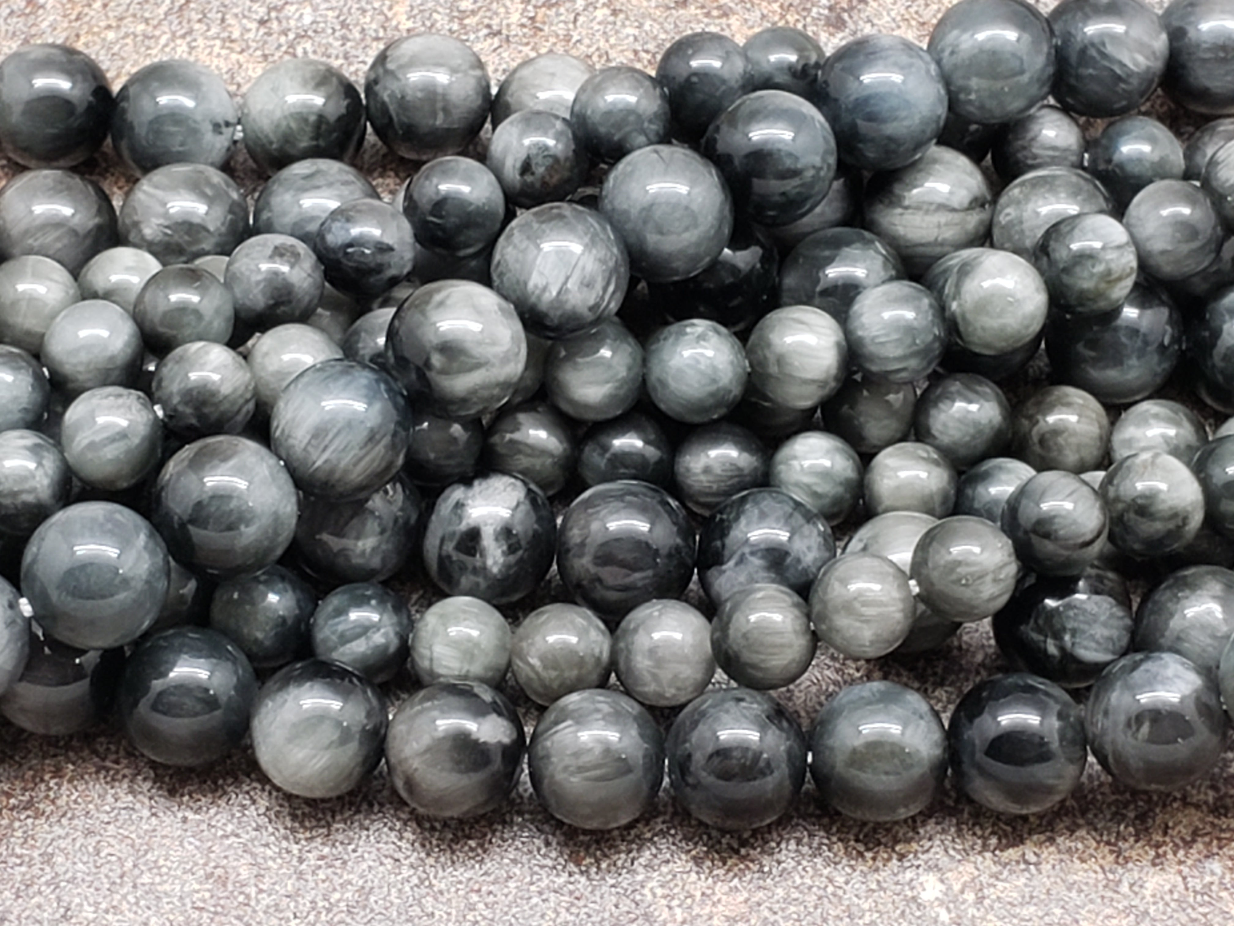 6mm or 8mm Gray Hawk Eye Polished Round Beads, A Grade, 15 inch