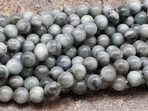 4mm or 6mm or 8mm Gray Hawk Eye Polished Round Beads, 15 inch