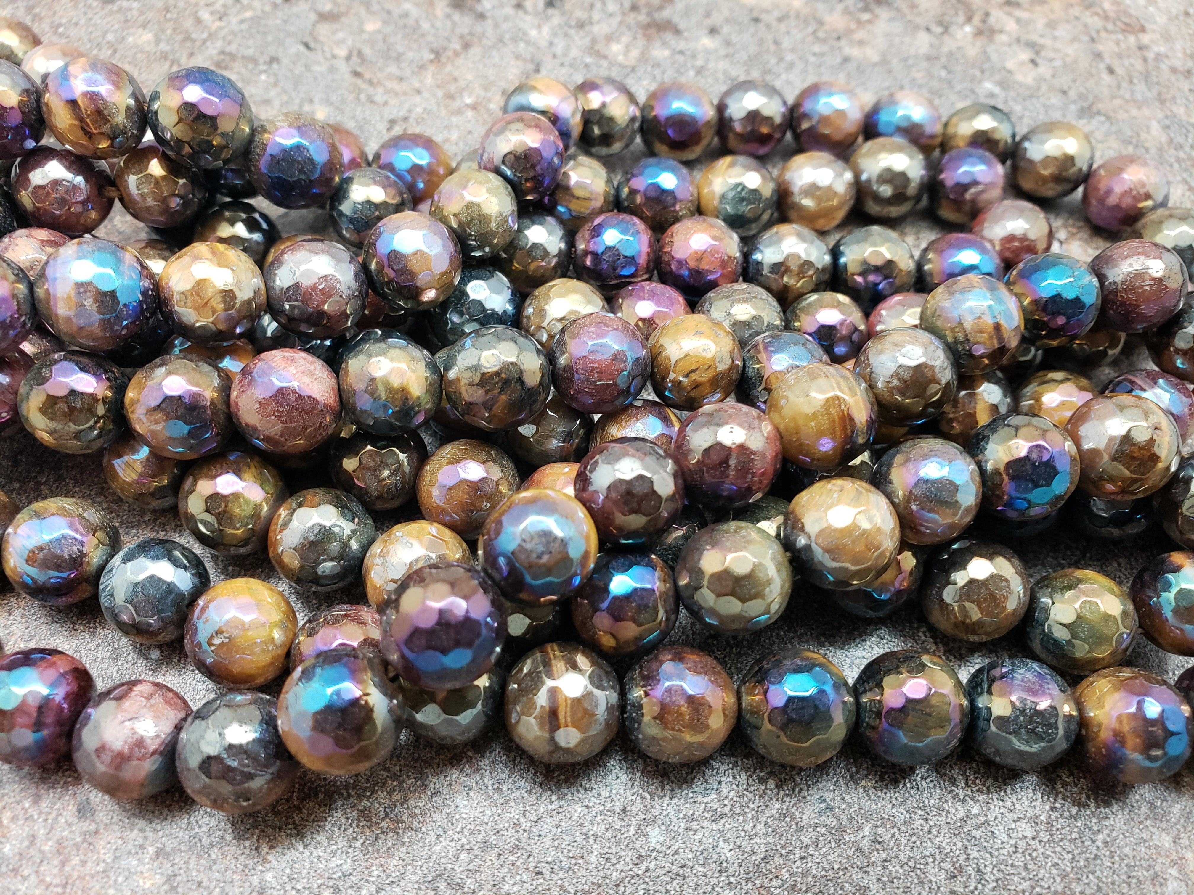 8mm or 10mm Tiger Eye Mystic Faceted Round Beads, 15 inch