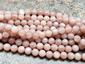 6mm or 8mm Peach Sunstone Polished Round Beads, A Grade, 15 inch