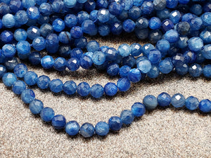 3mm or 3.5mm Kyanite Faceted Round Beads, 15 inch
