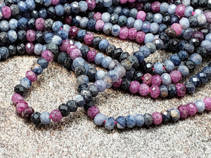 2.75mm Ruby & Sapphire Faceted Rondelles, 15 inch