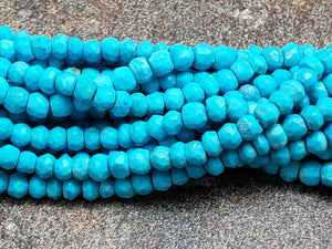 3.5 to 4mm Turquoise Howlite Faceted Rondelles, 13 inch
