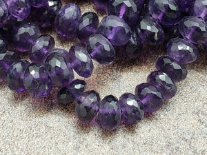 8.25 - 8.75mm Amethyst Faceted Rondelles, 8 inch