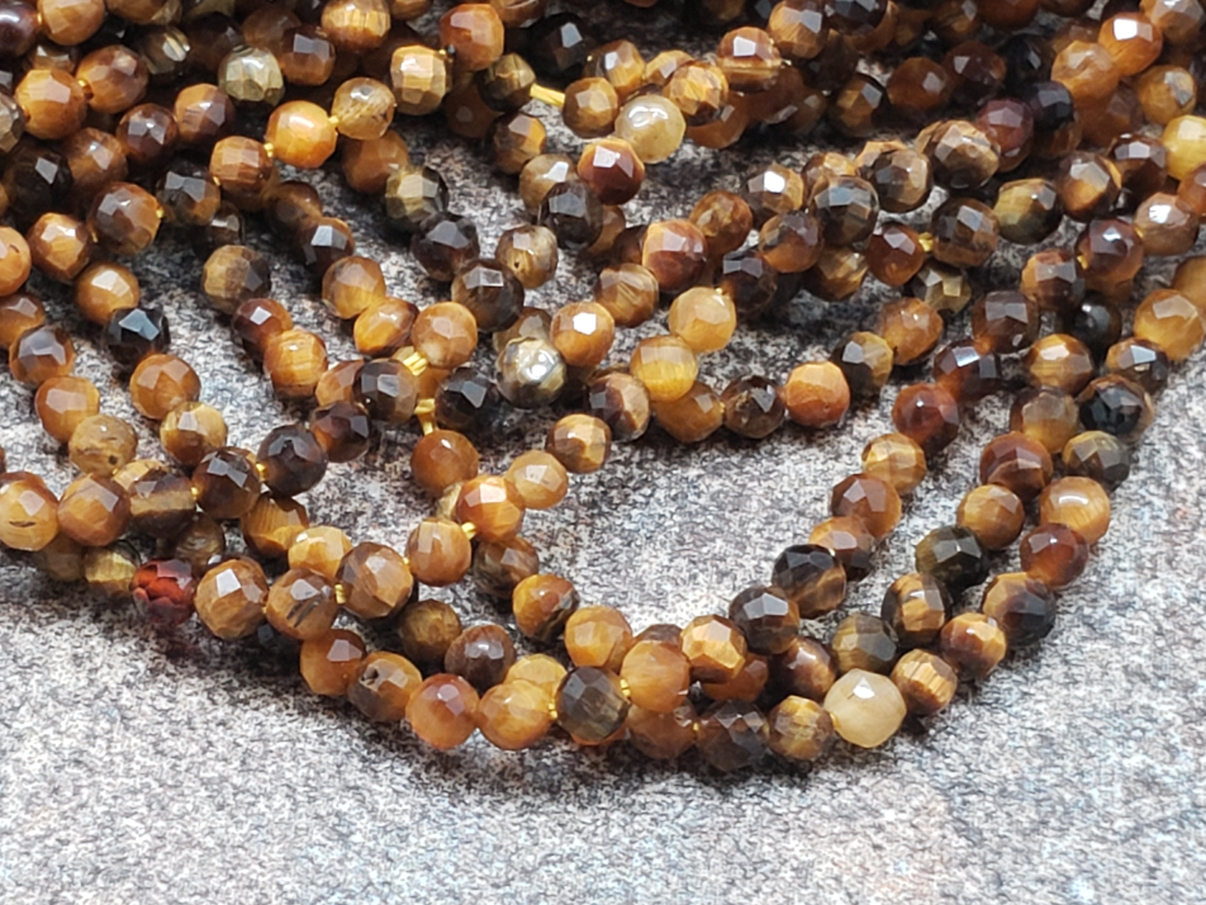 2.25mm Tiger Eye Faceted Round Beads, 15 inch