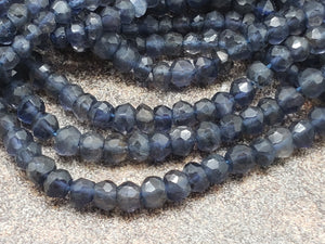4mm to 4.5mm Natural Iolite Faceted Rondelles, 13 inch