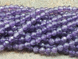 4mm Amethyst Faceted Round Beads, 15 inch