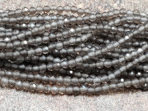 2mm or 3mm Smoky Quartz Faceted Round Beads, 15.25 inch